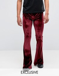 Reclaimed Vintage Velvet Flares Burgundy Red