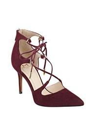 Marc Fisher Toni Suede Gladiator Pumps Burgundy