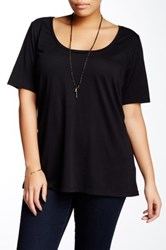 Susina Elbow Length Sleeve Scoop Neck Tee Plus Size Black