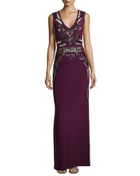 Nicole Miller Artelier Beaded And Sequin Embroidered Gown Plum Wine