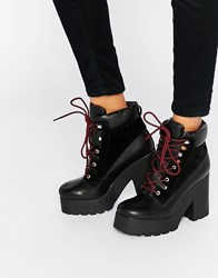 Eeight Lace Up Platform Heeled Ankle Boots Black