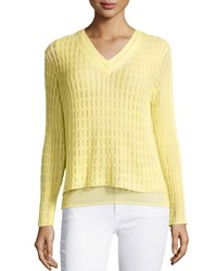 Lafayette 148 New York Double Layer V Neck Sweater Light Sunshine
