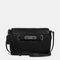 Coach Rip And Repair Swagger Wristlet In Glovetanned Leather Dark Gunmetal Black