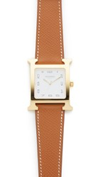 Wgaca Hermes H Hour Gm Watch Previously Owned Gold White