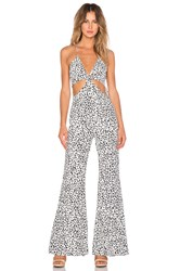 Line And Dot Disco Jumpsuit Beige