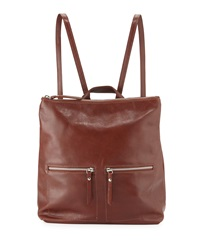 Neiman Marcus Made In Italy Smith Square Leather Backpack Burnt Brown