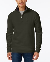 Tommy Hilfiger Men's Big And Tall Ribbed Quarter Zip Sweater Rosin