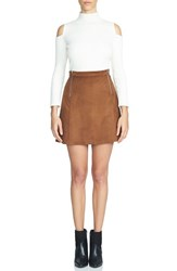 1.State Women's Faux Suede A Line Miniskirt Toffee Brown