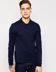 Asos Muscle Fit Long Sleeve Polo Shirt Navy