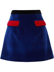 Christopher Kane Velvet Contrast Pocket Skirt Red