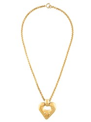 Chanel Vintage Heart Pendant Necklace Metallic