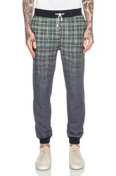 Band Of Outsiders Melting Plaid Sweatpants In Blue Checkered And Plaid Ombre And Tie Dye