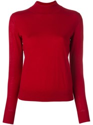 Theory Mock Neck Jumper Red
