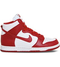 Nike Dunk High Top Leather Trainers White Red Retro Qs