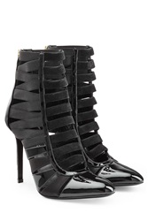 Tamara Mellon Patent Leather Suede Corset Booties Black