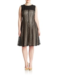 Anne Klein Plus Lace Fit And Flare Dress Black Nude
