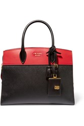 Prada Esplanade Large Two Tone Textured Leather Tote Black
