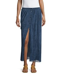 Fuzzi Button Front Denim Mesh Maxi Skirt Overseas