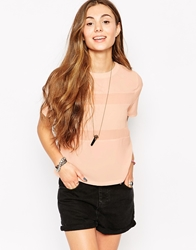 Neon Rose T Shirt With Sheer Insert Pink
