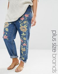 Alice And You Boyfriend Jean With Floral Embroidery Blue