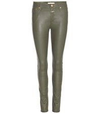 Closed Lizzy Leather Trousers Green