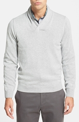 Nordstrom Cotton And Cashmere Shawl Collar Sweater Light Heathr Grey