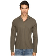 Vince Long Sleeve Hooded Henley Fatigue Green Men's Sweatshirt