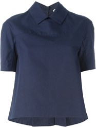 I'm Isola Marras Classic Collar Boxy Top Blue