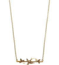 Annina Vogel 9Ct Yellow Gold And Pearl Swallow Bar Necklace