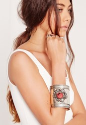 Missguided Coral Stone Cuff Bracelet Silver Grey