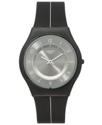 Swatch Unisex Swiss Power Tracking Black Silicone Strap Watch 34Mm Sfb145