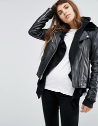 Goosecraft Leather Jacket With Faux Fur Collar Black
