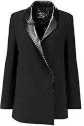 Mcq By Alexander Mcqueen Faux Leather Trimmed Crepe Blazer Black