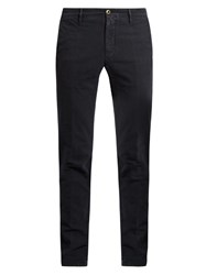 Incotex Slim Leg Stretch Cotton Chino Trousers Navy