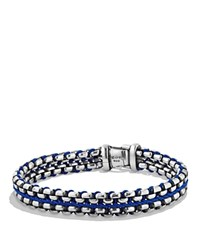 David Yurman Woven Box Chain Bracelet In Blue Blue Silver