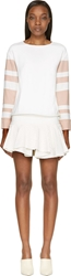 Jay Ahr Pink And White Striped Eyelet Dress