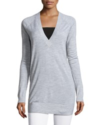 Petite Delrina L Preen V Neck Sweater Women's Heather Grey Theory