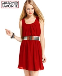 Amy Byer Bcx Juniors Dress Sleeveless Belted Red