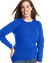 Charter Club Plus Size Cashmere Crew Neck Sweater In 14 Colors Only At Macy's Sapphire