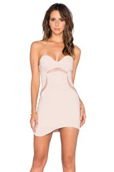 Bobi Black Luxe Stretch Crepe Strapless Dress Beige