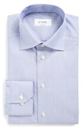 Eton Men's Big And Tall Contemporary Fit Print Dress Shirt Blue