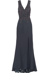 Mikael Aghal Chiffon Paneled Embellished Twill Gown Blue