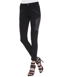 Haute Hippie Stud Panel Skinny Moto Pants Black