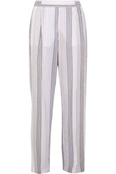 Stella Mccartney Striped Cotton Blend Wide Leg Pants Ivory