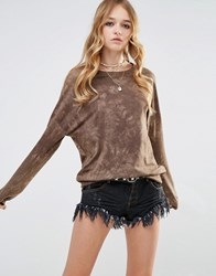 Glamorous Oversized Crew Neck Sweatshirt In Tye Dye Khaki Green