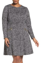 Michael Michael Kors Plus Size Women's 'Norfolk' Print Long Sleeve Fit And Flare Dress