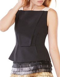 Bcbgmaxazria Marley Bibbed Sleeveless Peplum Top Black Bare Pink