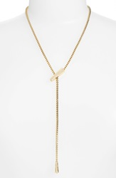 Rachel Zoe 'Melina' Pave Lariat Necklace Gold