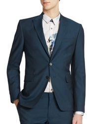 Paul Smith Peak Wool And Mohair Jacket Teal