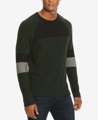 Kenneth Cole New York Men's Colorblocked Crew Neck Sweater Juniper